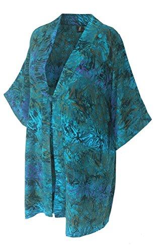 Batik Kimono Oversize Caftan Wrap, Asian Inspired Duster with Chinese Knot Closure, Back Neck Collar, PLUS SIZE 2X-4X Dressy Women's Kimono by Generous Fashions: Women's Handmade Plus Size Clothing XL-4X by Stephen