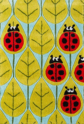 Momeni Rugs LMOJULMJ13LBR2030 Lil' Mo Whimsy Collection, Kids Themed Hand Carved & Tufted Area Rug, 2' x 3', Lady Bug Red ()