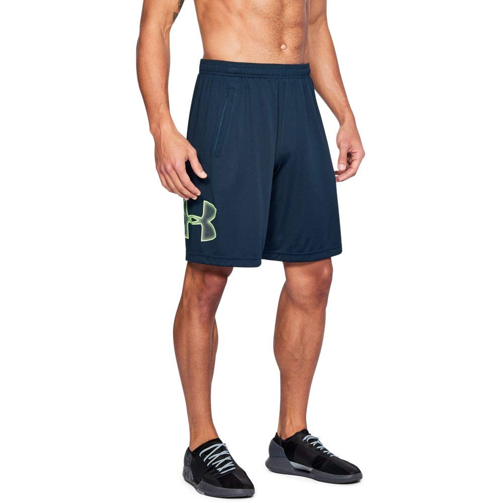 UNDER ARMOUR mens Tech Graphic Shorts , Academy (408)/Quirky Lime, Small