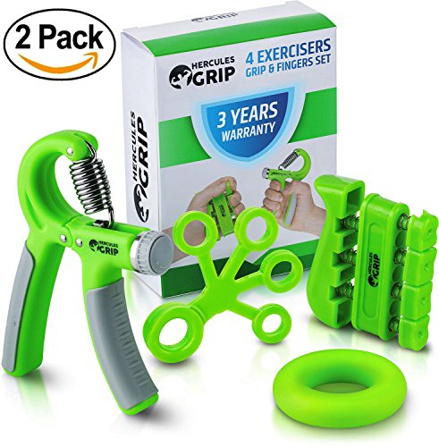 HerculesGrip 2x Hand Grip Strengthener Forearm Grip Workout Kit - Adjustable Hand Gripper Resistance Range of 22-88lbs, Finger Exerciser, Finger Stretcher & Exercise Ring + HD Video Manual by HerculesGrip