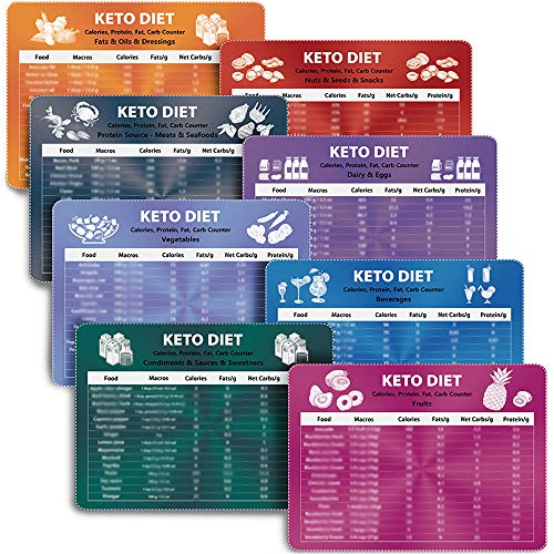 Keto Diet Magnets, Keto Cheat Sheet Magnets 8pcs for Ketogenic Diet Foods, Keto Quick Guide Fridge Magnet Reference Charts for 120 Ingredients Including Meat, Vegetables, Seafood, Fruits and so on