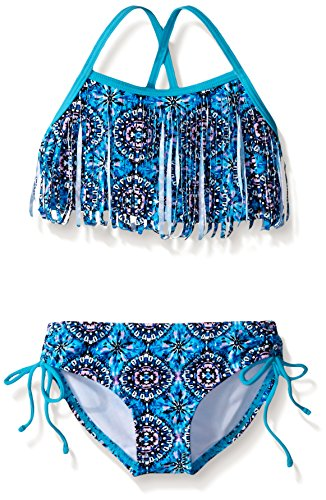 Kanu Surf Big Girls' Kelly Beach Sport Fringe 2-Piece Bikini Swimsuit, Hannah Blue, 12