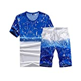 Mose Great Value Two-Piece Set Mens Fashion Printing Short Sleeve O Neck Shirt Tops Casual Short Pant Suit (Blue, M)