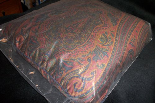 Ralph Lauren Rare Greycliff Paisley Burgundy Square Throw Accent Pillow, 20 by 20 Inches