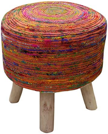 Christopher Knight Home Maya Silk Swirl Stool, Blue and Multi-Colored , Coral Natural Finish