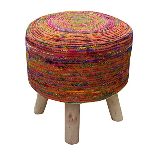 Great Deal Furniture 305991 Maya Silk Swirl Stool, Blue and Multi-Colored Ⅱ, Coral Natural Finish