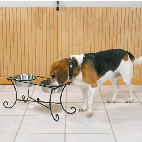 Pet Studio Wrought Iron Two-Bowl Raised Diners — Versatile and Ornate Diners for Dog and Cat Food with Bowls Included, 3-Quart
