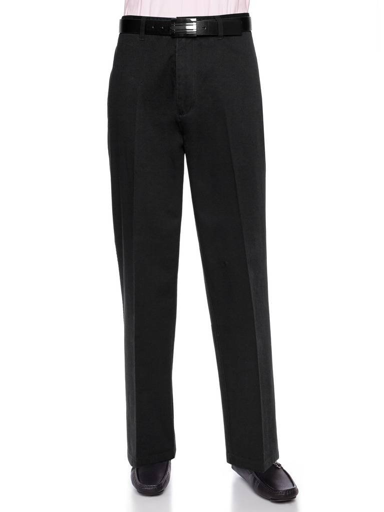 AKA Men's Wrinkle Free Cotton Twill - Traditional Fit Slacks Flat-Front Work Pants Black 54 X-Short