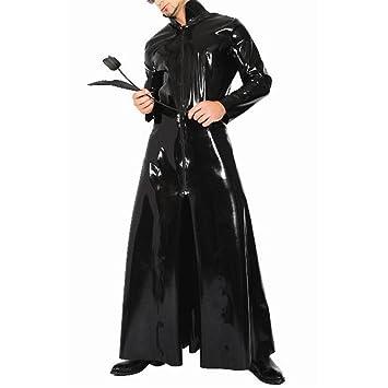 SFHK PVC Cuero Largo Rompevientos Mujer/Hombre Ropa Interior Frente Cremallera Campo Nocturno Cosplay Disfraz