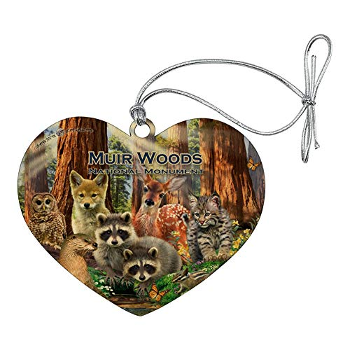 (GRAPHICS & MORE Muir Woods National Monument California CA Redwoods Forest Animals Heart Love Wood Christmas Tree Holiday Ornament)