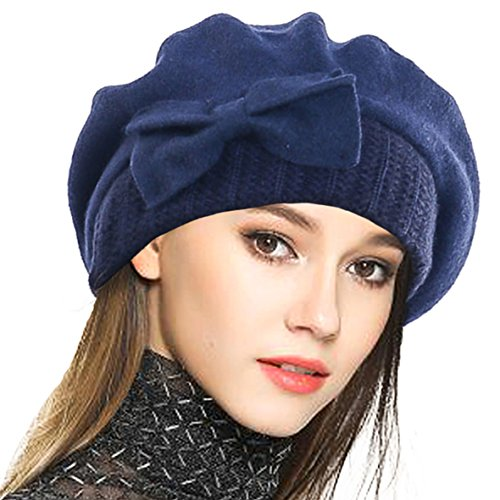 (VECRY Lady French Beret 100% Wool Beret Floral Dress Beanie Winter Hat (Bow-Navy))