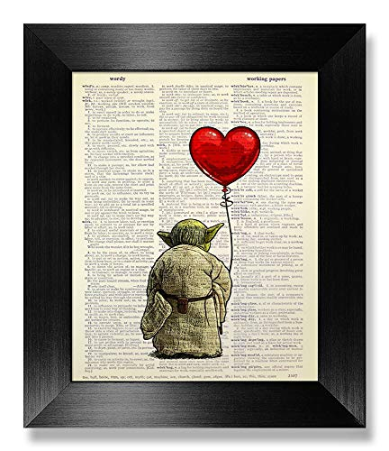 Star Wars Art Print, Yoda with Red Heart Balloon Wall Decor Love Gift for Boyfriend Funny Birthday Present for Husband Anniversary, Movie Lover Gift for Man, Cool Sci Fi Poster, Dictionary Art Print