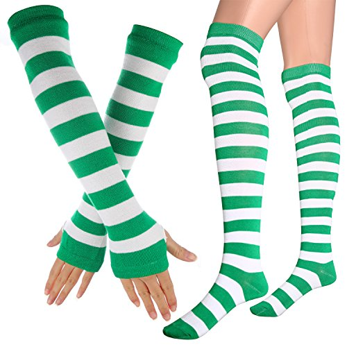 Womens Extra Long Striped Socks(Over Knee High Opaque Stockings ) & Long Arm Warmer Gloves(Punk Gothic Rock) (Green & White, OneSize) Warm Green