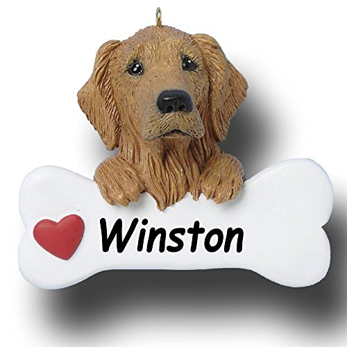 Personalized Lab Golden Retriever Dog Breed and Dog Bone with Red Heart Detail Hanging Christmas Tree Ornament with Custom Name - 3 inches ()