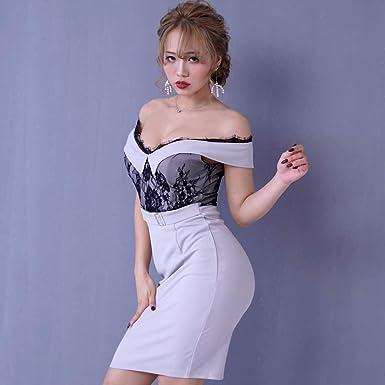 3e3e331514296 キャバドレス ドレスキャバ セクシー ミニドレス パーティードレス 上品レースオフショルダーカットミニドレス