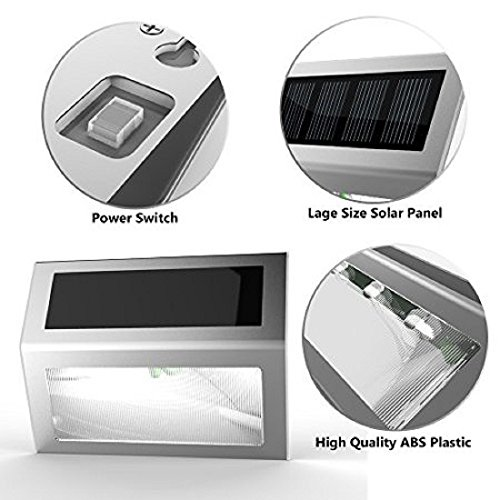 Solar Stair Lights, EpicGadget Waterproof Outdoor LED Step Lighting 3 LED Solar Powered Step Lights Stainless Steel Outdoor Lighting for Steps Paths Patio Stairs (12 Pack) by EpicGadget(TM) (Image #2)