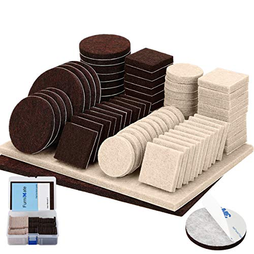 (FurniMate Furniture Pads 138 Pieces Felt Pads Two Colors Pack Self Adhesive Anti Scratch Felt Furniture Pads Brown and Beige Felt for Furniture Protector on Wood Hardwood Floor in a Box)