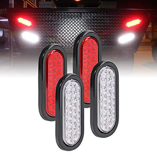 Grommet /& Plug Included DOT Certified IP67 Waterproof 4pc 4 Round White 24 LED Trailer Tail Lights Reverse Back Up Trailer Lights for RV Trucks Jeep