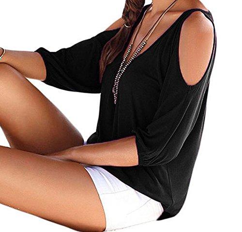 Christmas PEGGYNCO Womens Black V Neck Cold Shoulder Oversize Top Size M