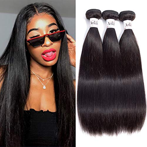 Anknia Mink Brazilian Straight Hair 3 Bundles Deals 100% Unprocessed Virgin Remy Human Hair Bundles Weave Hair Extensions Natural Color 24 26 28 Inches Total 300g from Anknia