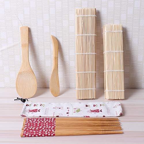 Queenwind 9Pcs/セット竹圧延マット寿司作りツール箸ライス拡散機ファミリーパーティー寿司ガジェット
