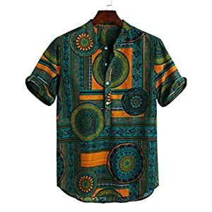 TLF Men's Casual Printed Multi Color Linen Cotton Shirts