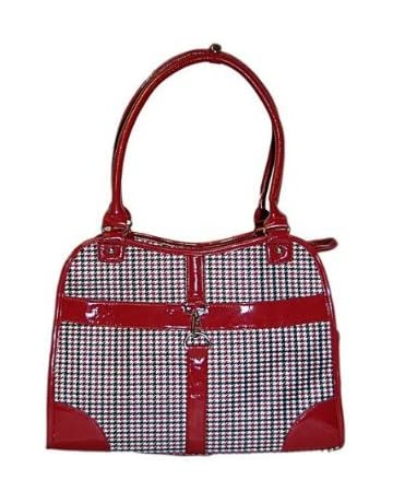 0f0bea680fc Houndstooth Print Tote Pet Dog Cat Carrier/Tote Purse Travel Airline Bag  -Red-