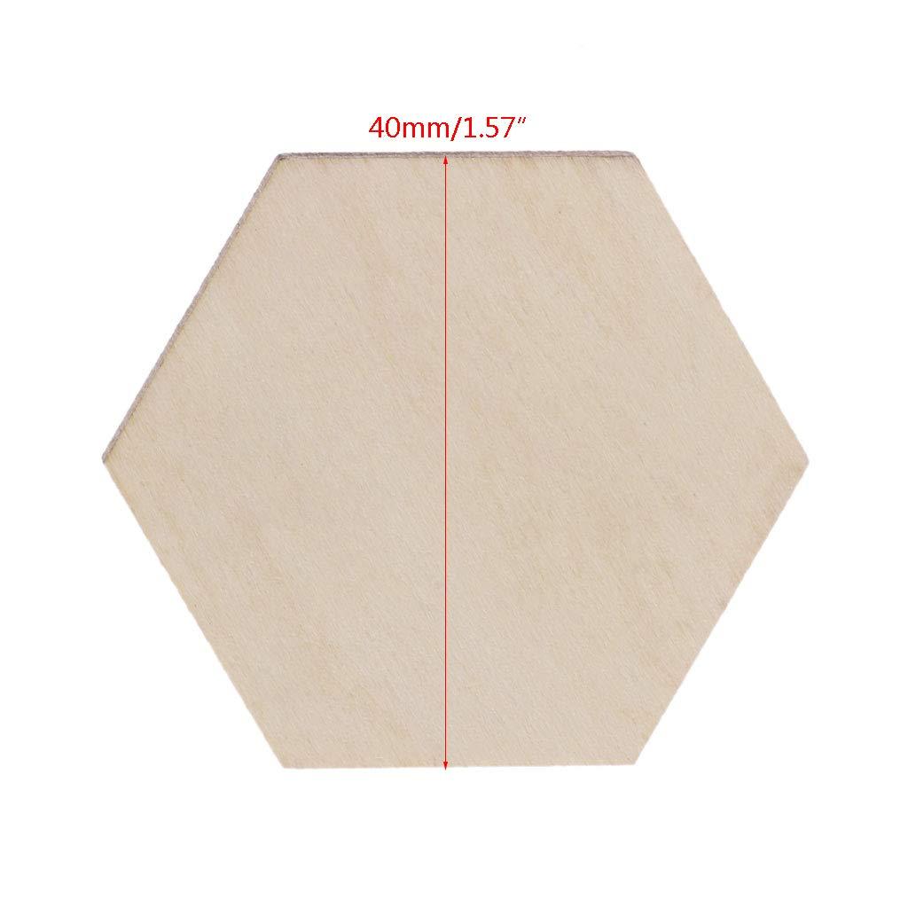 Mgjyjy 50-200Pcs 10mm-60mm Optional Hexagon Laser Cut Unfinished Wooden Discs Crafts DIY 200Pcs, 15mm