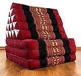 Asia Wohnstudio 3 Fold With Extra Large Triangle Cushion Xxl Jumbo Asian Thailand Pillow / Headrest & 100% Kapok Filling (Red Elephant) Red Elephant