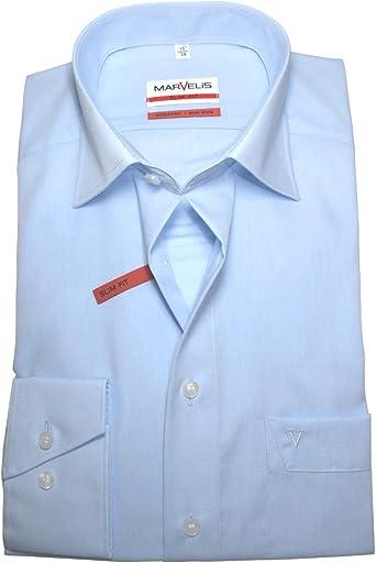 Marvelis Slimfit Chambray - Camisa de manga larga, color azul claro, talla No necesita planchado.: Amazon.es: Ropa y accesorios