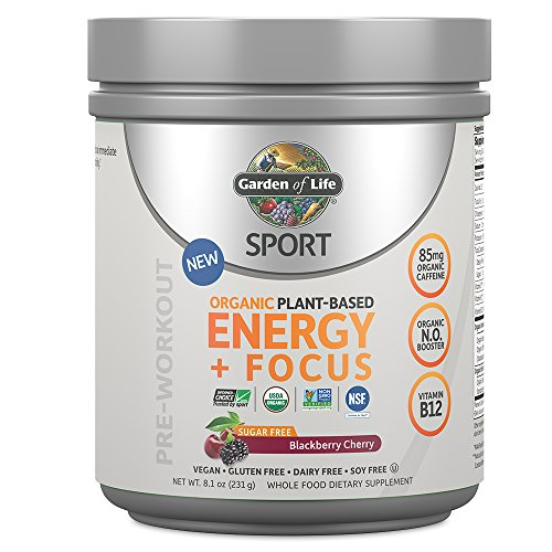 Garden of Life Sport Organic Pre Workout Energy Plus Focus Vegan Energy Powder, Sugar Free, Blackberry Cherry, 8.1oz (231g) Powder