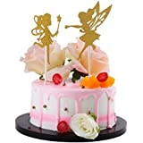 Sunny ZX Gold Glitter Ballerina Dancing Girl Cupcake Toppers, Wedding Bridal Shower Birthday Party Decoration Cake Topper (Dancing girl)
