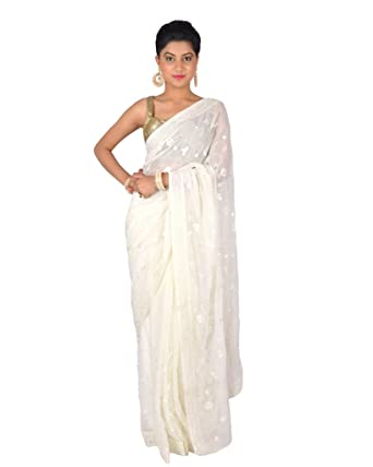 a388274568 Ctc Mall Faux Georgette Saree (1895459 _White): Amazon.in: Clothing &  Accessories