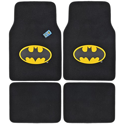 Logo Black Car Mat - BDK WBMT-1301 Batman Carpet Car Floor Mats Black & Yellow Logo - 4 Pieces, Rubber Backing, Front & Rear Full Set
