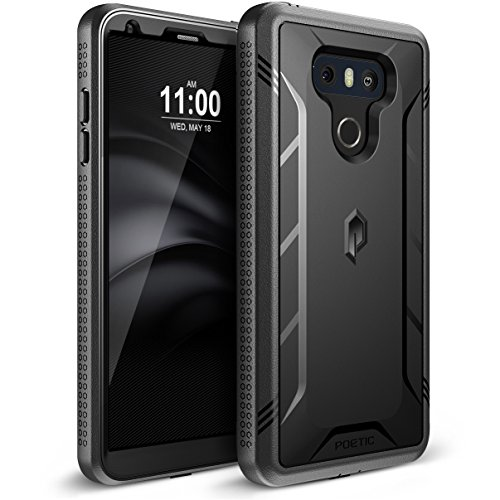 Poetic Revolution LG G6 Rugged Case With Hybrid Heavy Duty Protection and Built-In Screen Protector for LG G6 Black