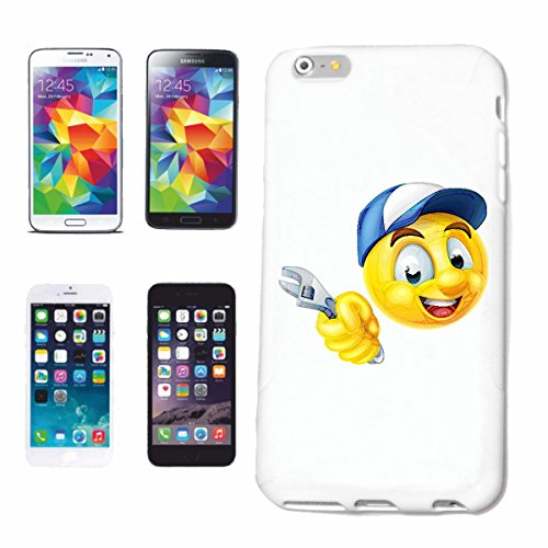 "cas de téléphone Samsung Galaxy S6 edge ""SMILEY MÉCANICIEN AS MOBILE AVEC clé MECHATRONIC ""sourire EMOTICON APP de SMILEYS SMILIES ANDROID IPHONE EMOTICONS IOS"" Hard Case Cover Téléphone Covers Smart"