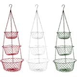 Fox Run 3 Tier Hanging Fruit Vegetable Kitchen Storage Basket - Colors may vary