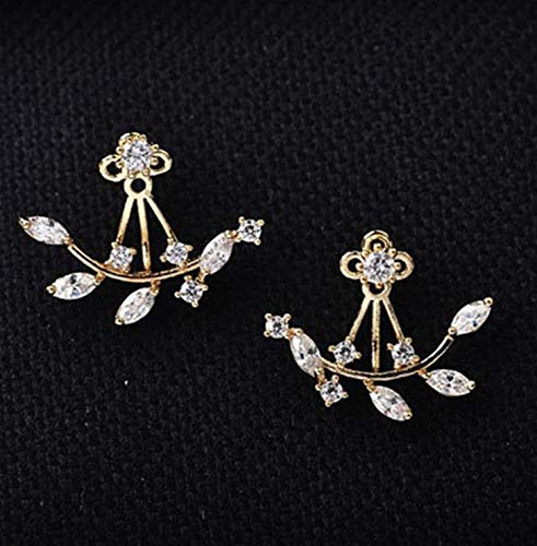 Wausa Fashion Lady Crystal Leaf Ear Jacket Earrings Gold Plated Back Cuff Stud Earring | Model ERRNGS - 9912 ()