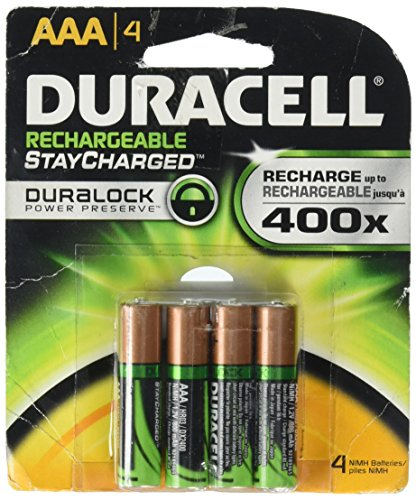 Duracell AAA NiMH Rechargeable Batteries, 4 Pack