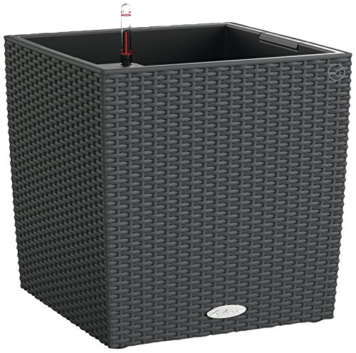 Lechuza Cube Cottage 40 Self-Watering Garden Planter for Indoor and Outdoor Use, Granite Wicker