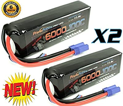 Powerhobby 3S 11.4V HV 6000mAh 100C-200C Lipo Battery Pack w EC5 Plug 3-Cell ( 2 pack) Fits : Losi 8ight-E / Proboat / Losi XXL2-E / Vaterra / ECX