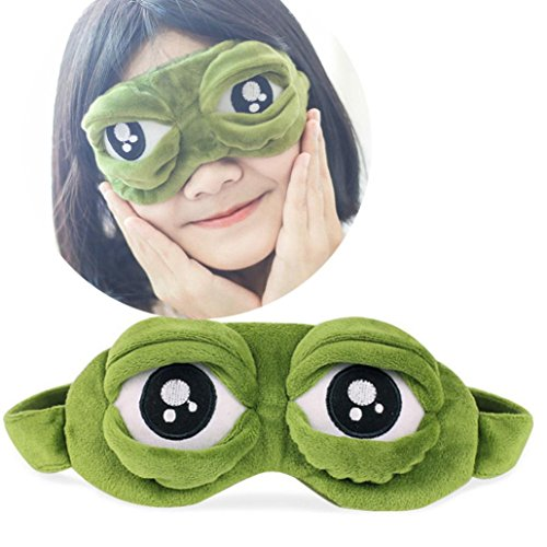 Goodtrade8 Soft Plush Cute Eyes Cover Mask Sleeping Rest Travel Funny Gift 20x10cm (Green) -