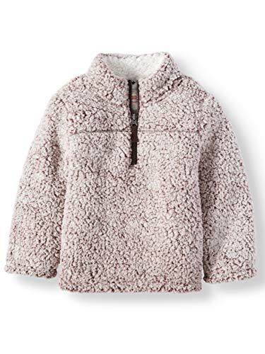 Wonder Nation Baby Boys Quarter Zip Super Soft Sherpa Pullover (5T, Warm - Fudge Apparel