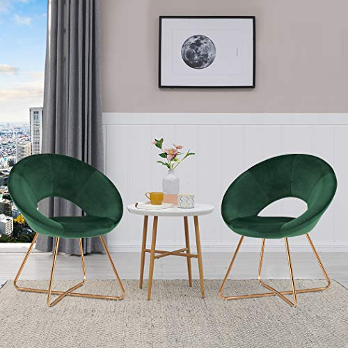 Duhome Dinning Chairs,Mid-Back Support Velvet Set of 2 Accent Arm Chairs Modern Leisure Upholstered Chair with Gold Plating Legs Dark Green