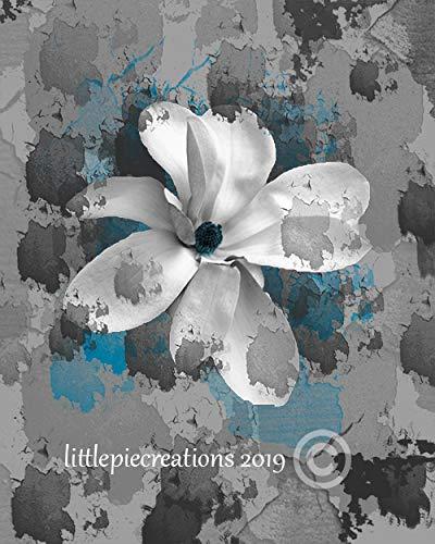 Littlepiecreations Blue Gray Modern Rustic Bedroom, Bathroom Floral Wall Decor, USA Original Photography Artwork