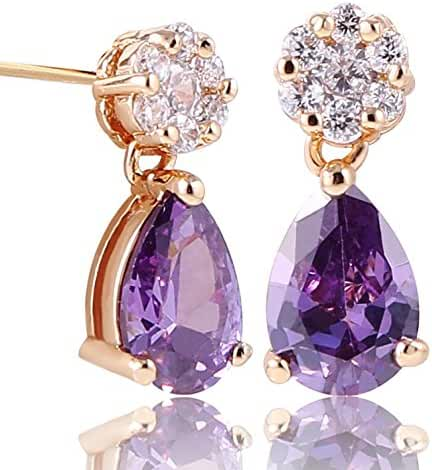 GULICX Yellow Gold Tone Rhinestone Vogue Stud dangle Earrings