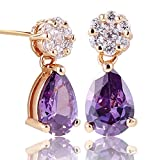 GULICX Yellow Gold Tone jewlery Amethyst Color Purple design lady Party Glitter dangle Stud earring