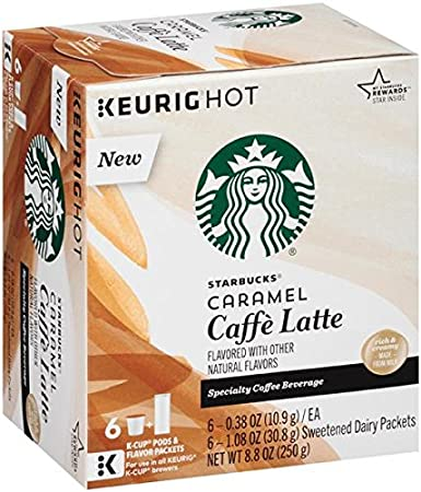 Starbucks Caramel Caffe Latte Specialty Coffee Beverage K Cups 8 8 Oz Box
