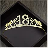 Xiwstar Crystal Tiara Birthday Crown Princess Crown Hair Accessories Diamante Rhinestone Happy 18th Birthday Hair Crown (Gold)