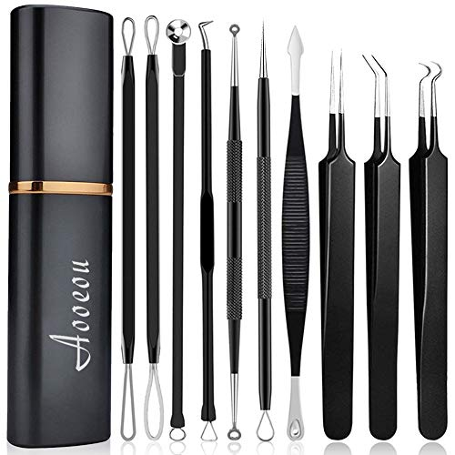 pimple popper tool- Aooeou 10 Pcs Professional Pimple Comedone Extractor Tool Acne Removal Kit -Treatment for Pimples, Blackheads, Blemish, Zit Removing, Forehead and Nose. ()